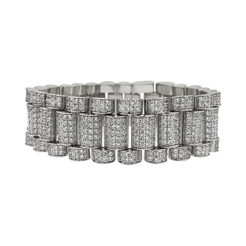 Rhodium President CZ Bling Bling Bracelet 22MM