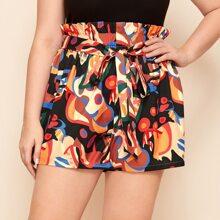 Shorts mit Papiertaschen auf Taille und Guertel