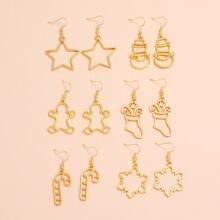 6 Paare Weihnachten Ohrringe mit Stern & Schneemann Dekor