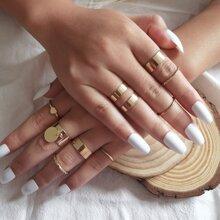 9 Stuecke Ring mit Disc & Herzen Dekor