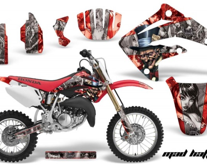 AMR Racing Dirt Bike Graphics Kit MX Decal Wrap For Honda CR85 CR 85 2003-2007 HATTER SILVER RED