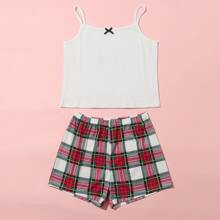 Girls Bow Cami Top With Tartan Shorts PJ Set