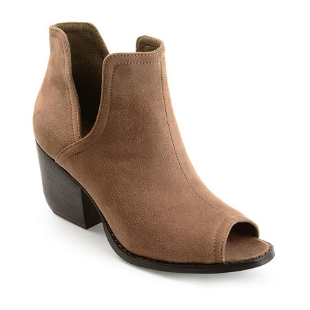 Journee Collection Womens Jordyn Stacked Heel Pull-on Booties, 11 Medium, Brown