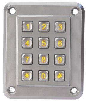 EOZ IP67 12 Key ZAMAK 5 Illuminated Anti Vandal Keypad