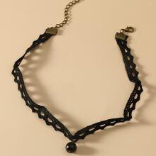 Bead Decor Lace Necklace