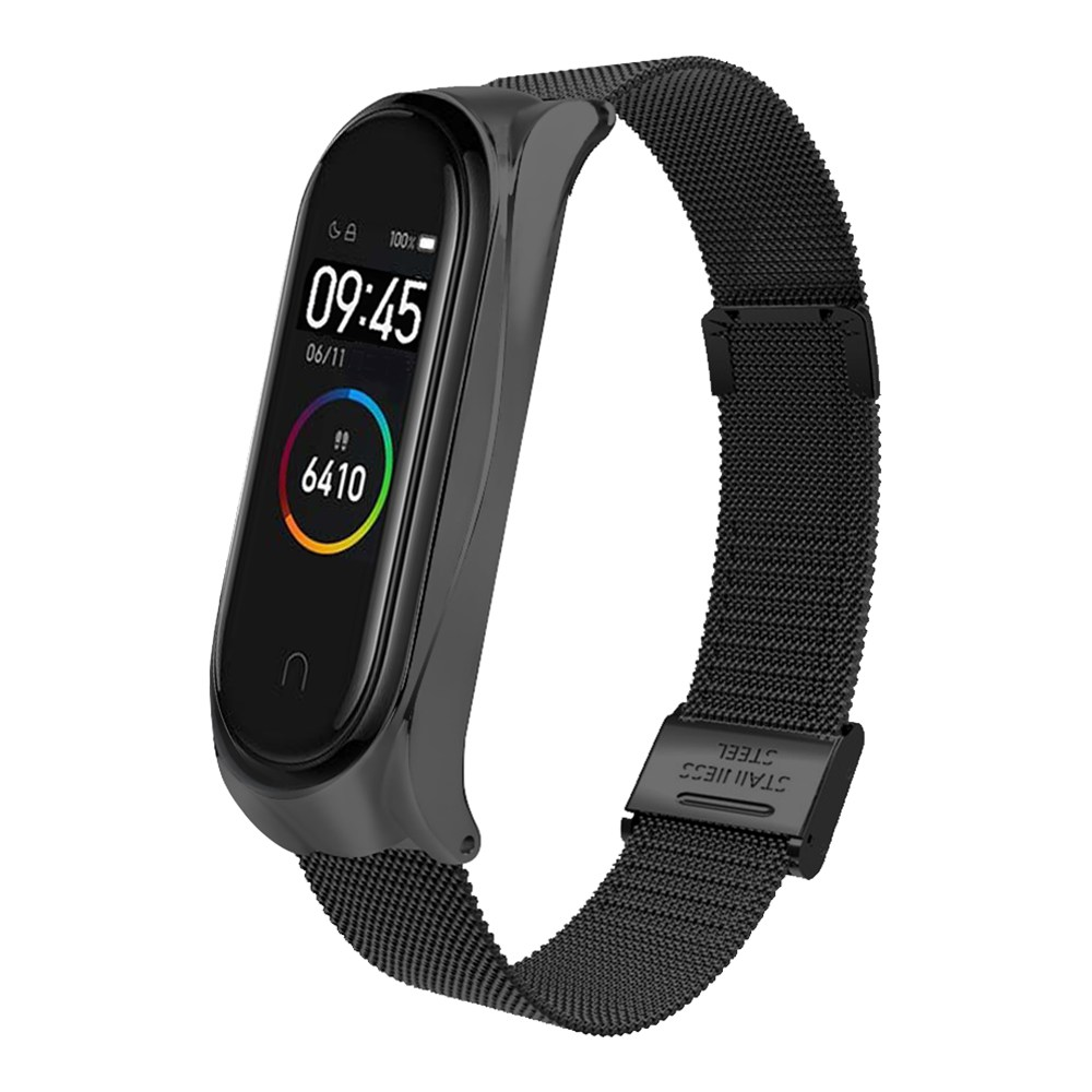 Replacement Strap For Xiaomi Mi Band 3/4 Smart Bracelet Metal Mesh Belt Buckle Version - Black