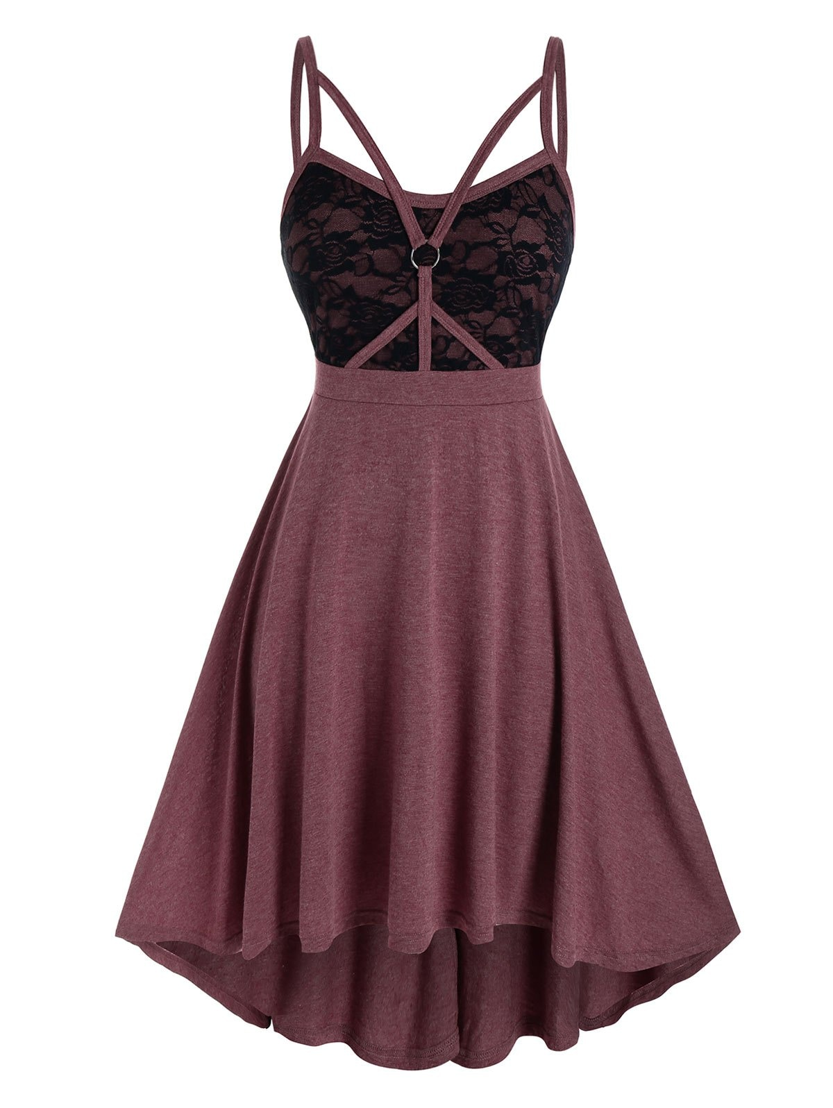 Plus Size Lace Panel Caged Strap Backless Cami Dress