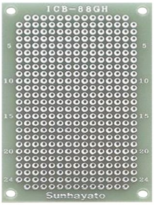 Sunhayato ICB-88GH, Double Sided Matrix Board with 0.9mm Holes 2.54 x 2.54mm Pitch, 72 x 47 x 1.2mm