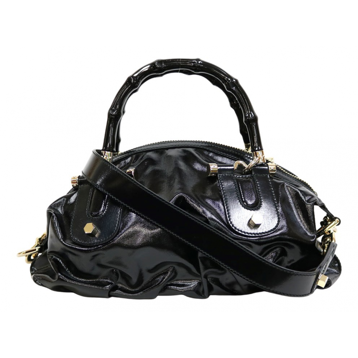 Gucci Bamboo Black Patent leather handbag for Women N