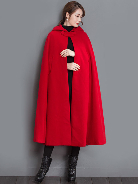 Milanoo Red Cape Coat Hooded Oversized Button Poncho Winter Coat For Women