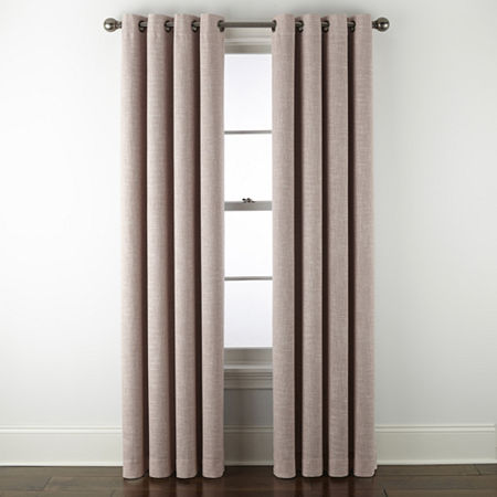 JCPenney Home Sullivan Blackout Grommet-Top Single Curtain Panel, One Size , Pink