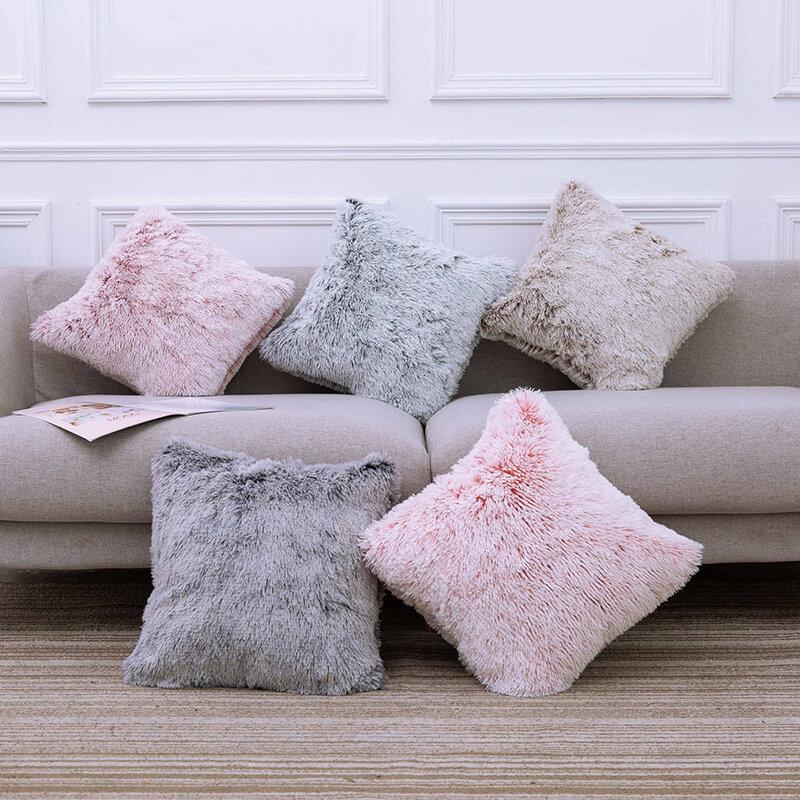 Cushion Long Hair Pillow Bedside Cushion Gradient Color Back Cushion Plush Pillowcase