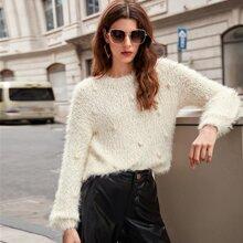 Drop Shoulder Pompom Detail Fuzzy Sweater