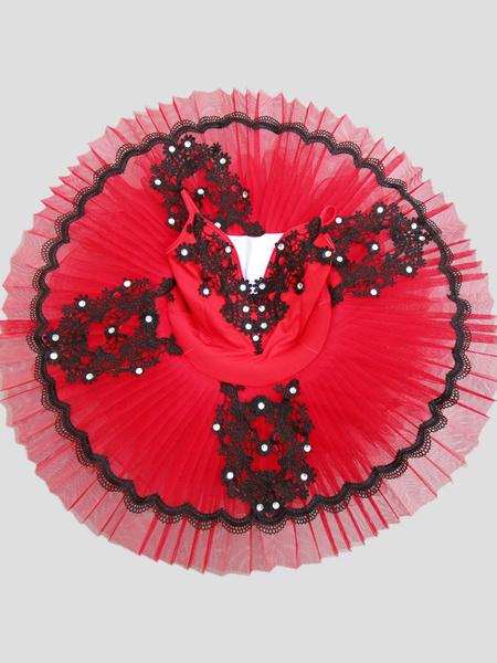 Milanoo Ballerina Dress Gilrs Latin Dance Costume Kids Lace Pleated Training Tutu Dancing Dresses