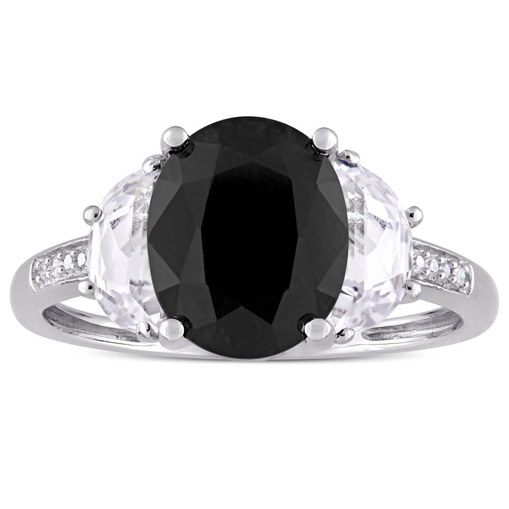 Miadora Sterling Silver Black Sapphire Created White Sapphire and Diamond Accent Engagement Ring (6)