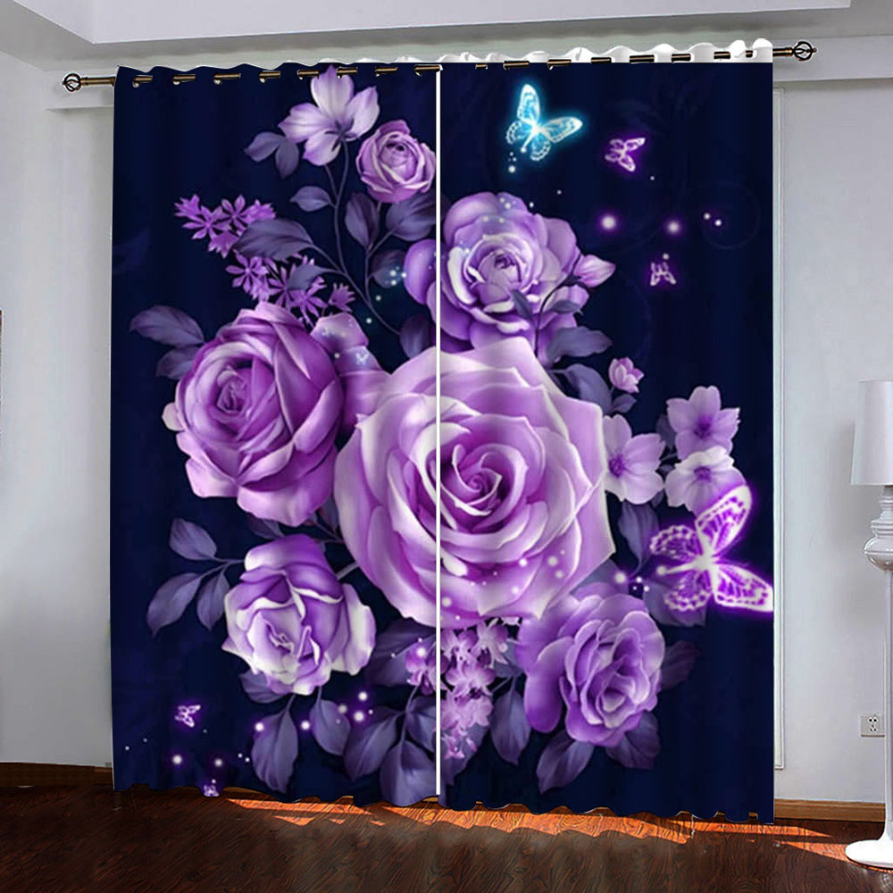Blackout Decoration 3D Purple Roses Printed Curtain Custom 2 Panels Drapes No Pilling No Fading No off-lining