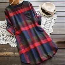 Plus Plaid Curved Hem Tee Dress