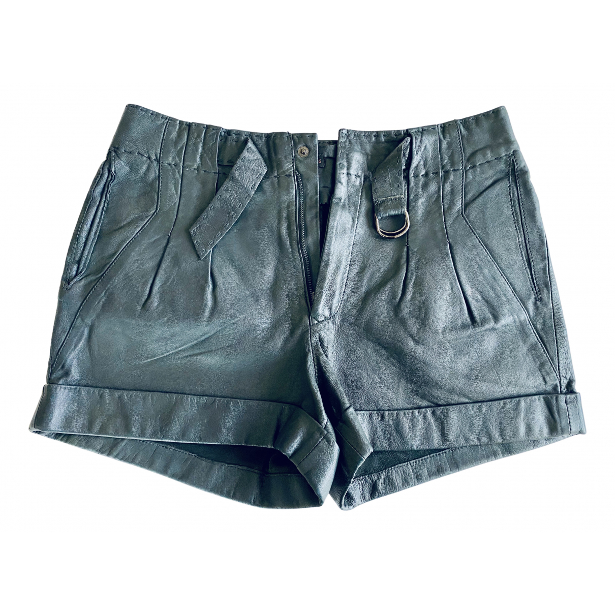 Maje N Grey Leather Shorts for Women 34 FR