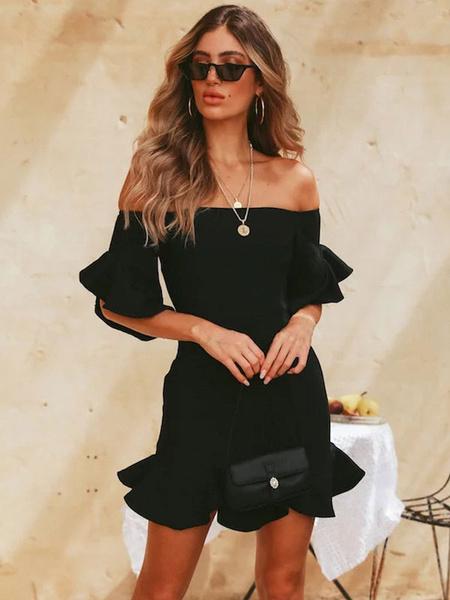 Milanoo Sexy Bodycon Dress Black Mini Dress Ruffles Off The Shoulder Summer Dress