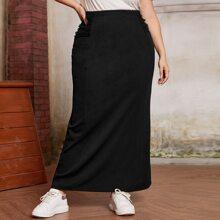 Falda maxi con diseño de malla con fruncido