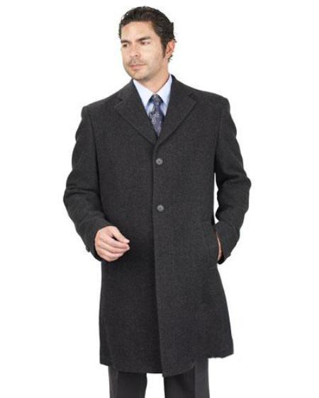 2 Button Charcoal Poly Rayon Blend Long Jacket Mens
