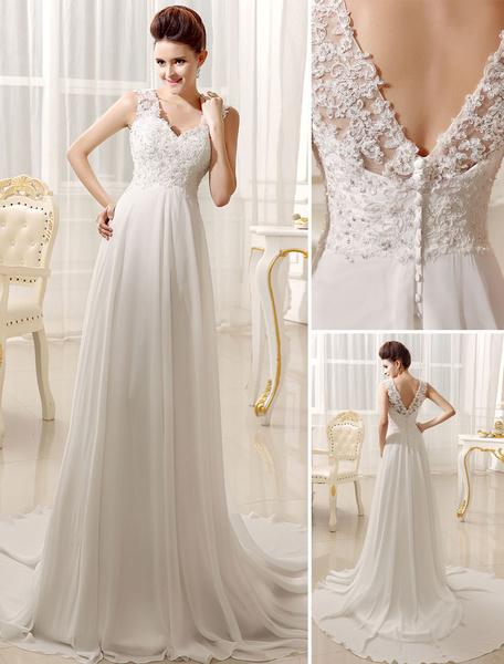 Milanoo Beach Wedding Dresses Chiffon Ivory Bridal Dress Lace Beading V Neck Court Train Summer Bridal Gown