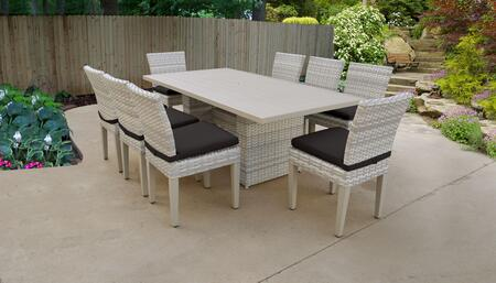 Fairmont Collection FAIRMONT-DTREC-KIT-8C-BLACK Patio Dining Set With 1 Table  8 Side Chairs - Beige and Black