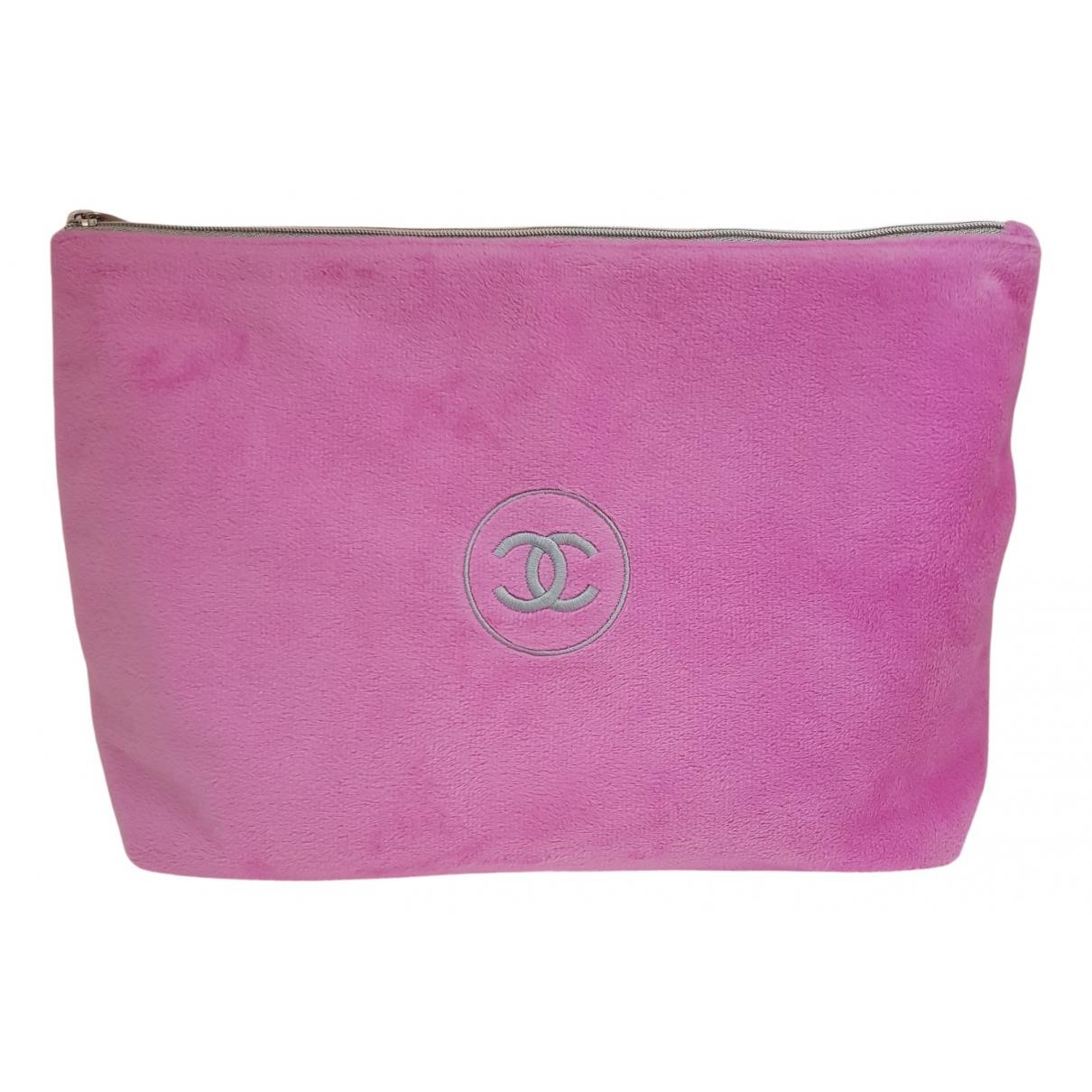 Chanel - Sac de voyage   pour femme en velours - rose