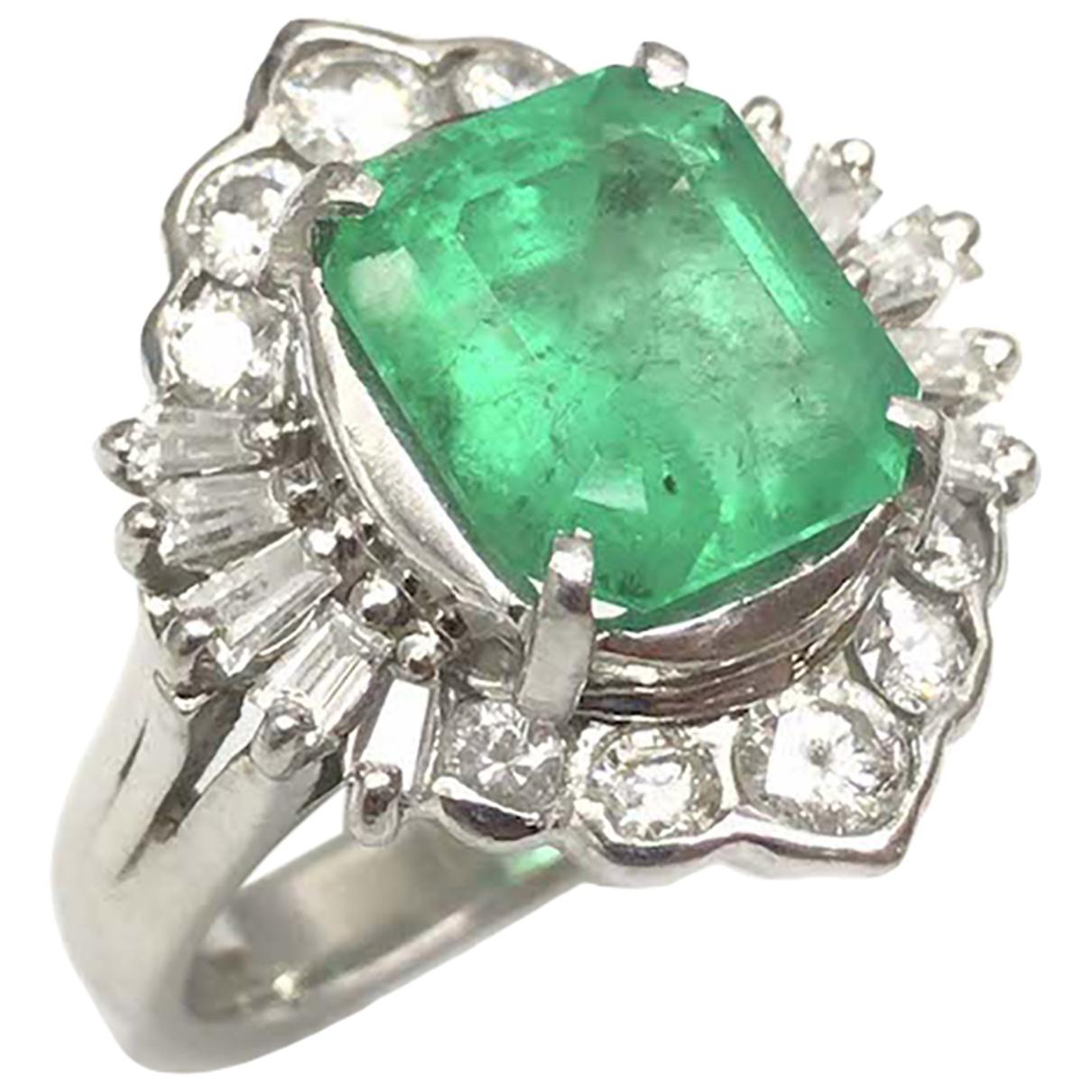 - Bague Emeraude pour femme en platine - vert