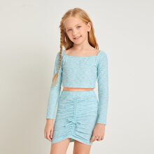 Girls Space Dye Crop Tee & Ruched Knot Front Skirt Set