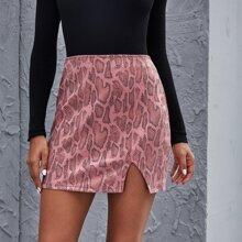 Snakeskin Print Slit Hem PU Skirt