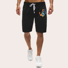 Men Brush Print Drawstring Waist Shorts