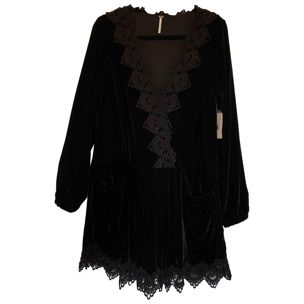 Free People - Robe   pour femme en velours - noir