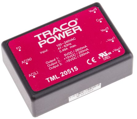 TRACOPOWER , 20W Embedded Switch Mode Power Supply SMPS, 5 V dc, ±15 V dc, Encapsulated
