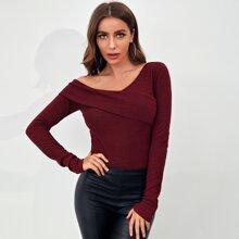 Foldover Asymmetrical Neck Rib-knit Tee