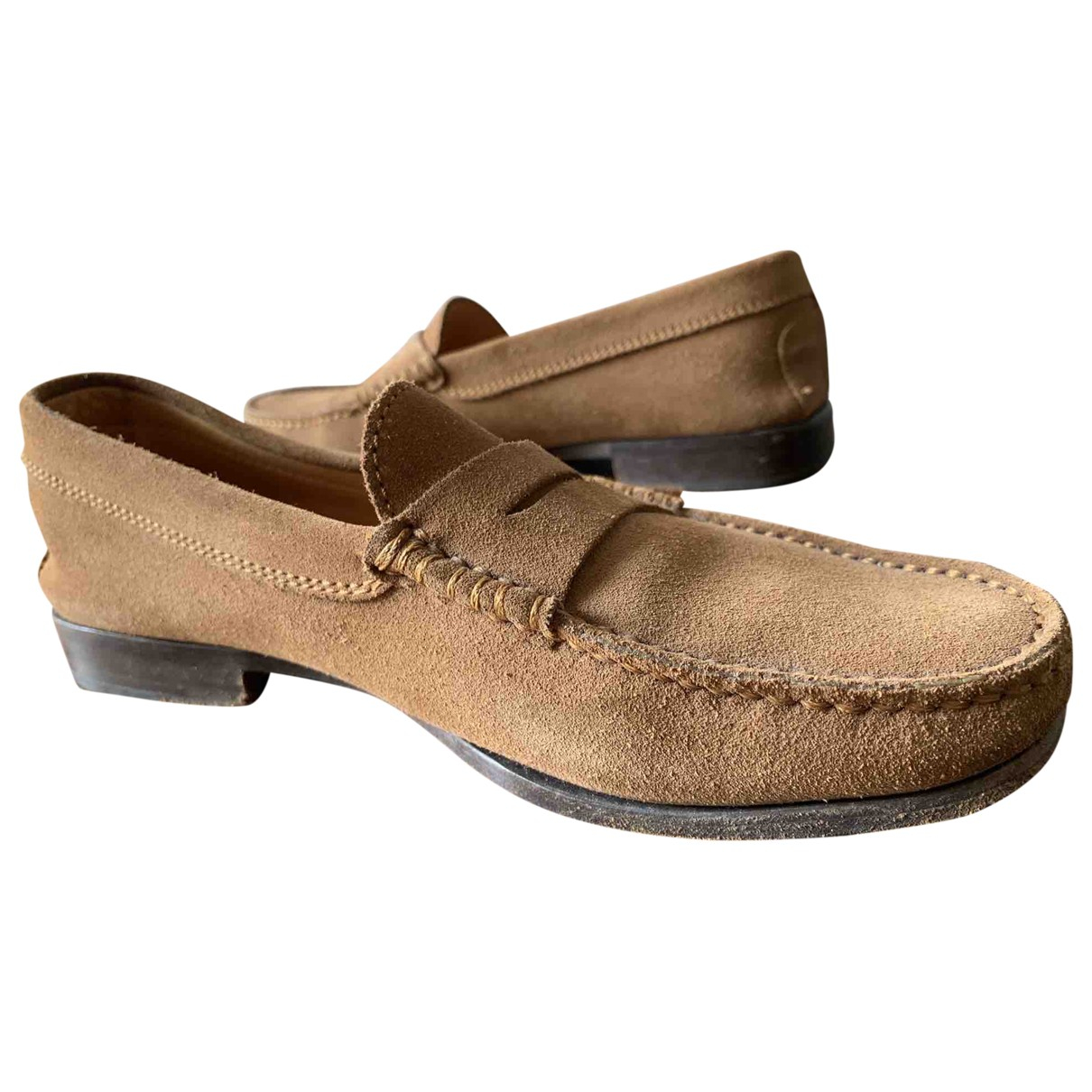 Tod's Gommino Camel Suede Flats for Men 6 UK