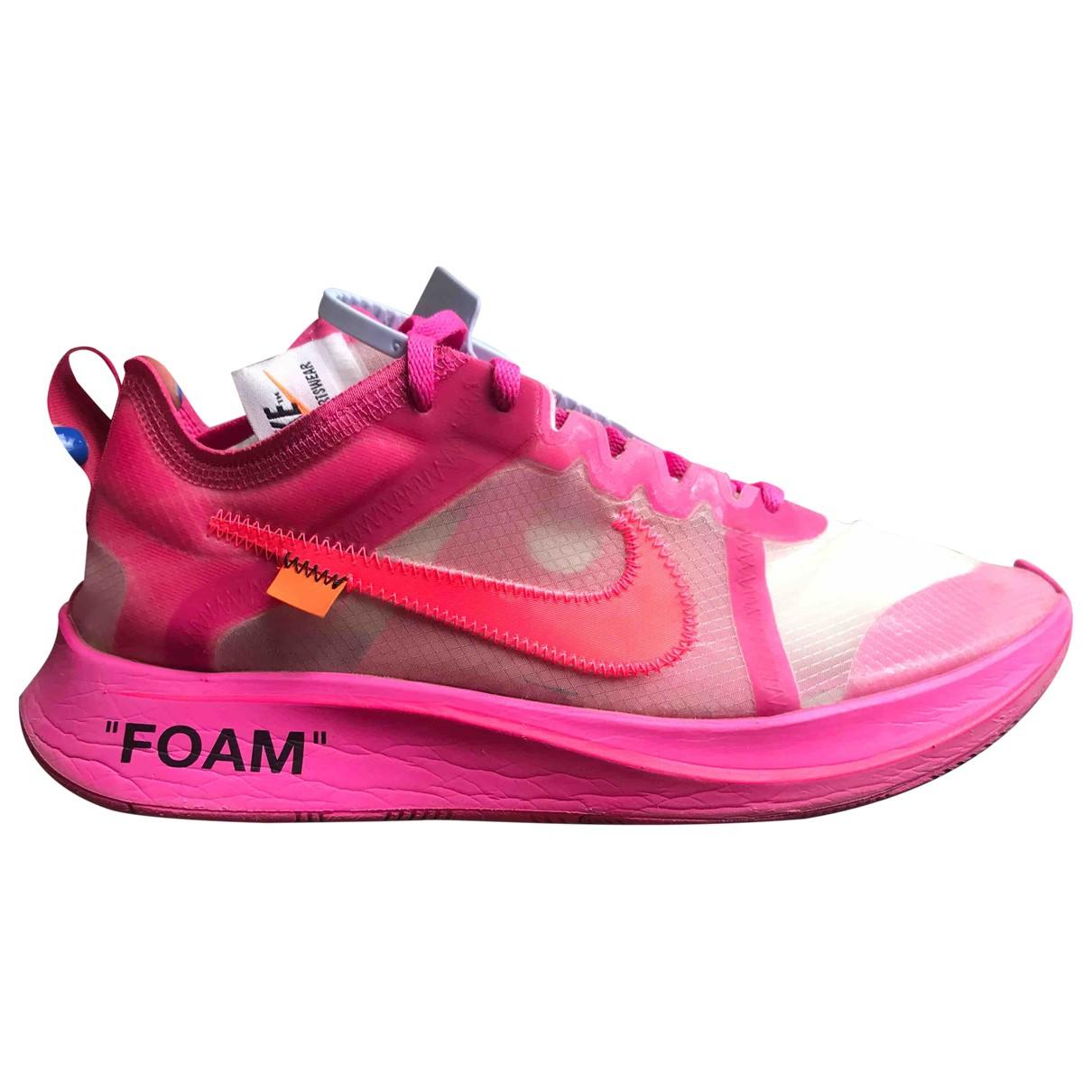 Nike X Off-white - Baskets Zoom Fly pour femme en caoutchouc - rose