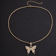 Maenner Halskette mit Strass und Schmetterling Dekor