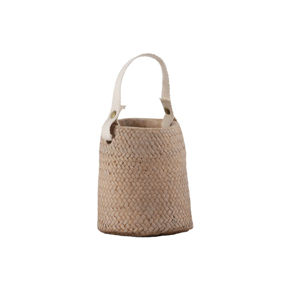 Round Cement Pot with Weave Basket Design and Cotton Strap Handle, Brown