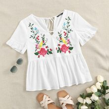 Embroidered Floral Print Self-Tie Peplum Top
