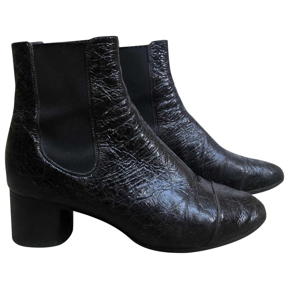 Isabel Marant Danae Black Patent leather Ankle boots for Women 36 EU
