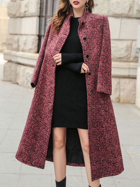 Milanoo Coat For Woman Color Block Stand Collar Buttons Casual Oversized Red Wrap Coat