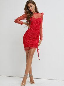 Sheer Yoke Drawstring Knot Glitter Mesh Bodycon Dress