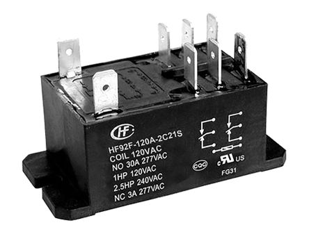 Hongfa Europe GMBH , 120V ac Coil Non-Latching Relay DPDT, 30A Switching Current Flange Mount Single Pole