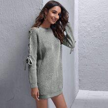 Pullover Kleid mit Band und Raglanaermeln