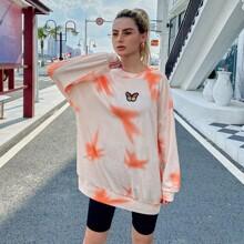 Sweatshirt mit Batik und Schmetterling Flicken
