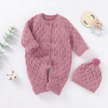 Pullover Jumpsuit mit Knopfen vorn & Hut