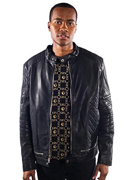 Mens Gally Gold Leaf Regular Fit Black Jacket