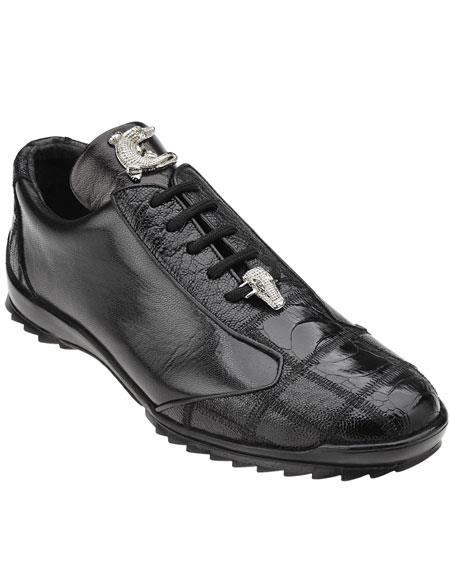 Men's Belvedere Paulo Black Genuine Soft Calfskin Leather Casual