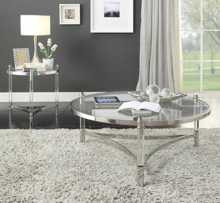 Peony Collection 80170CE 2 PC Living Room Table Set with Round Coffee Table and Round End Table in Stainless Steel Electro Plating